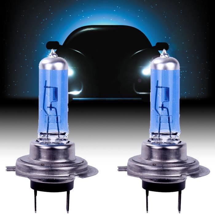 2x blanc 12V H7 100W 8500K lampe halogène super lumineux ampoules de phare de voiture halogène