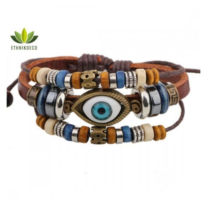 BRACELET - GOURMETTE Bracelet porte-bonheur en cuir pour homme. Protect