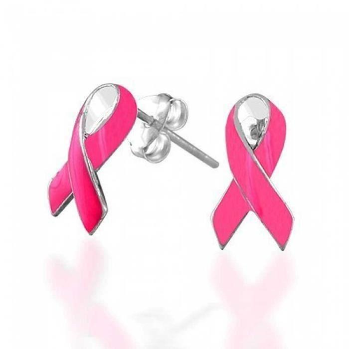 Or Rose émail sensibilisation au cancer du sein Charité Ruban Broche w