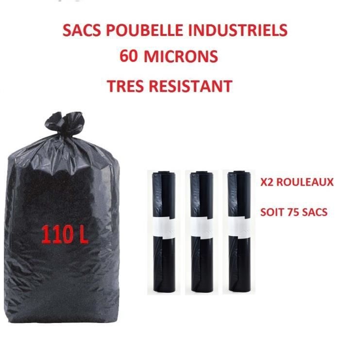 sacs poubelle x3 rouleau industriel solide 60 microns 110l 110 l litres compatible poubelle 100. Black Bedroom Furniture Sets. Home Design Ideas