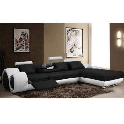canap d 39 angle cuir relax noir et blanc vilnus achat. Black Bedroom Furniture Sets. Home Design Ideas