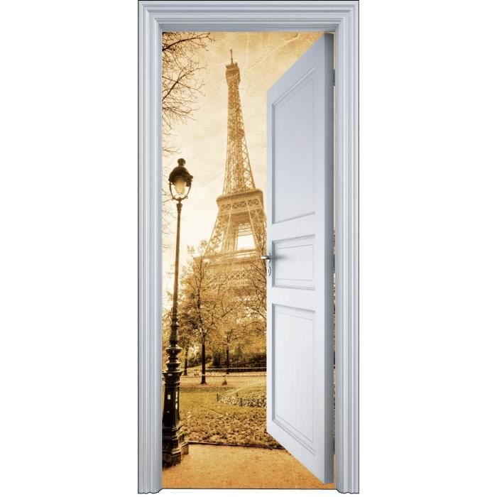 sticker porte trompe l oeil paris tour eiffel 9 achat vente stickers vinyl carton. Black Bedroom Furniture Sets. Home Design Ideas