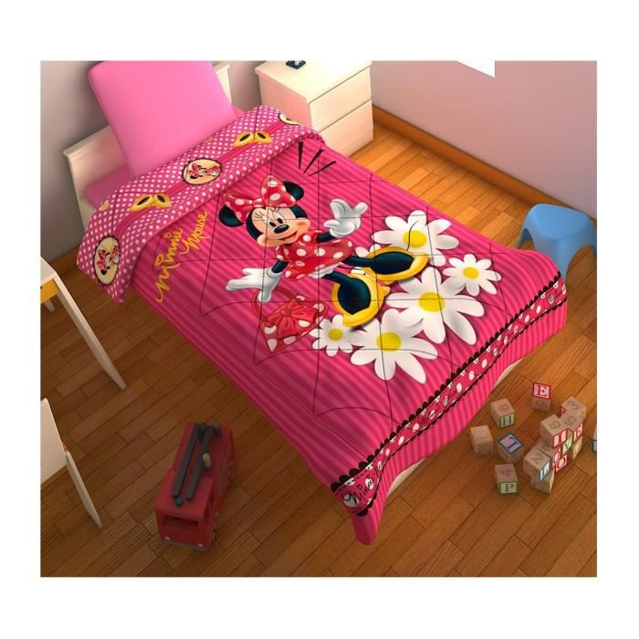 couverture de lit minnie mouse rose matelass e achat vente couverture plaid cdiscount. Black Bedroom Furniture Sets. Home Design Ideas