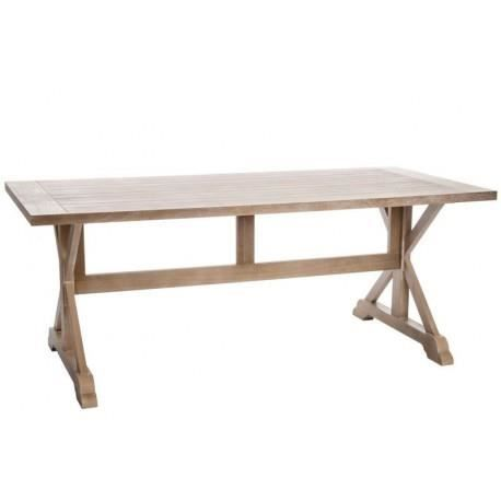 Table manger rectangle croix bois naturel200x95x78cm for Table a manger rectangulaire