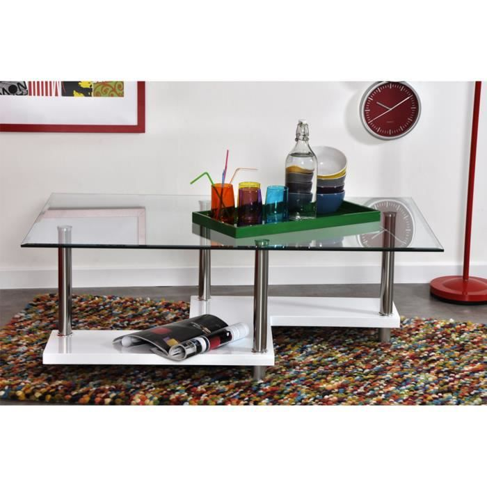 Table basse en verre blanc laqu zagy achat vente table basse table bass - Table basse verre blanc ...