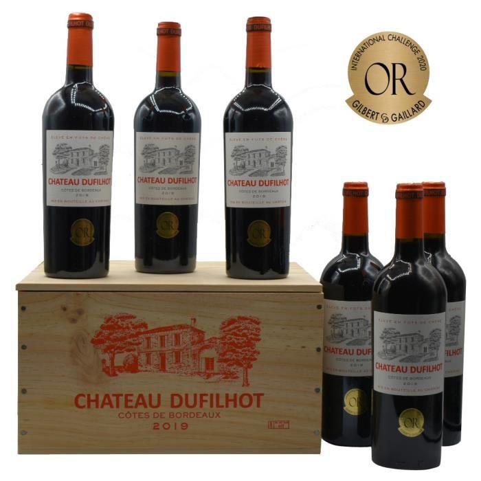 Château Dufilhot 2019 Côtes de Bordeaux - Vin rouge de Bordeaux en Caisse bois