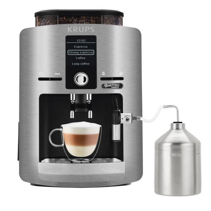KRUPS YY3069FD Machine à café automatique avec broyeur à grains Espresseria avec pot à lait - Ecran LCD - Pression 15 bars - Grise
