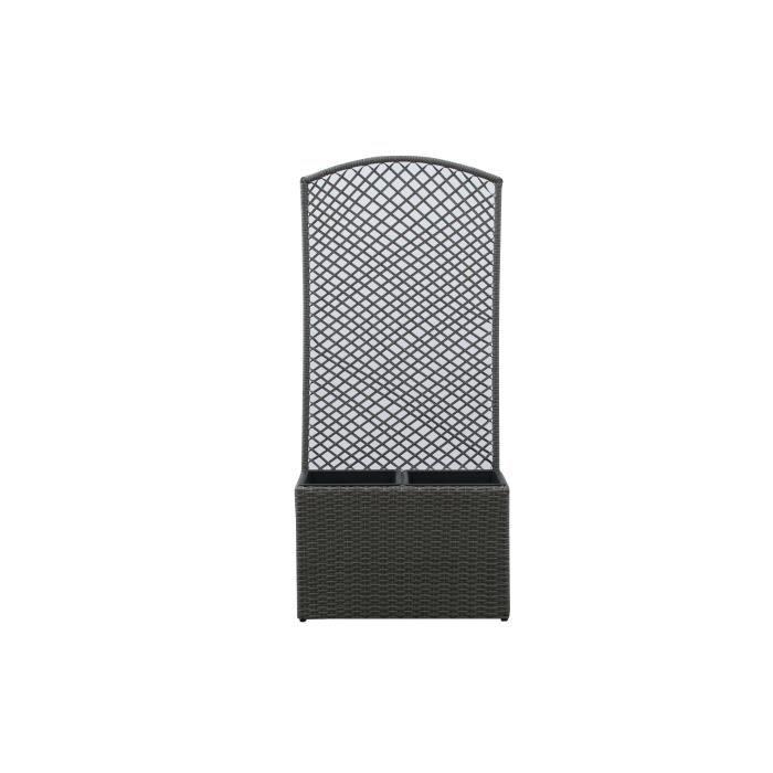 Bac rectangulaire avec treillis en résine tressée - 53 x 31,5 x 120 cm - Gris anthracite