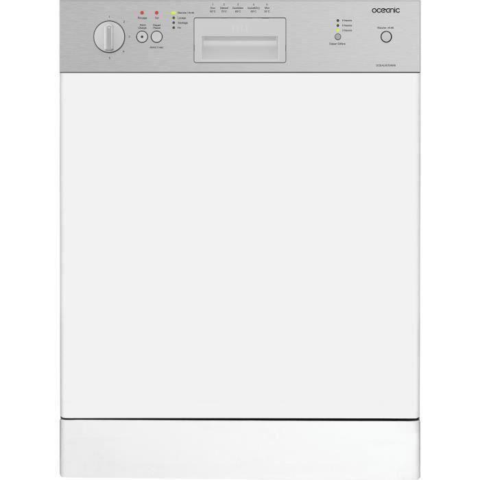 OCEANIC Lave-vaisselle encastrable 13 couverts 5 progs 49db Classe A+AA Départ différé Bandeau Inox, L59,8 cm x H 81,8 cm