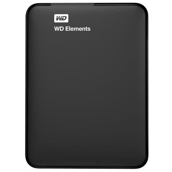 WD - Disque dur Externe - Elements Portable - 4To - USB 3.0 - Noir (WDBU6Y0040BBK-WESN)