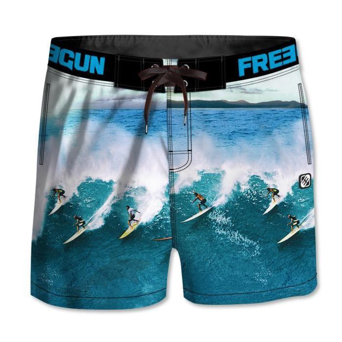 FREEGUN - Boardshort Court à Motifs Surf pour Garçon