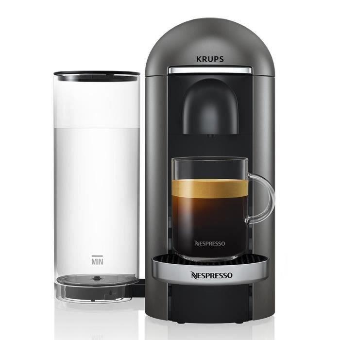 Nespresso Vertuo Plus Titane 1,8L - Machine à café finitions chromées Krups YY2778FD