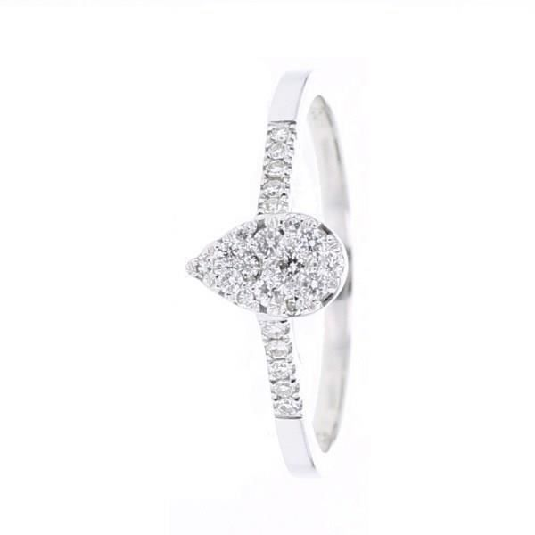 MONTE CARLO STAR Bague Poire Or Blanc 750° 0,21 ct Femme