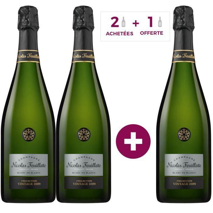 2 achetées + 1 offerte - Nicolas Feuillatte 100% Chardonnay 2009 Blanc de blancs