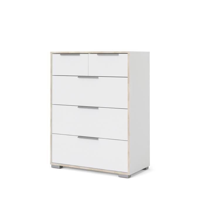 TITAN Commode 4 tiroirs L 77,9 x P 42,1 x H 82,3 cm Décor chene et blanc