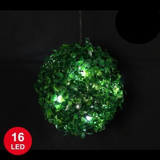 boule buis avec base verte et leds en blanc 18 cm achat vente guirlande d 39 exterieure cdiscount. Black Bedroom Furniture Sets. Home Design Ideas