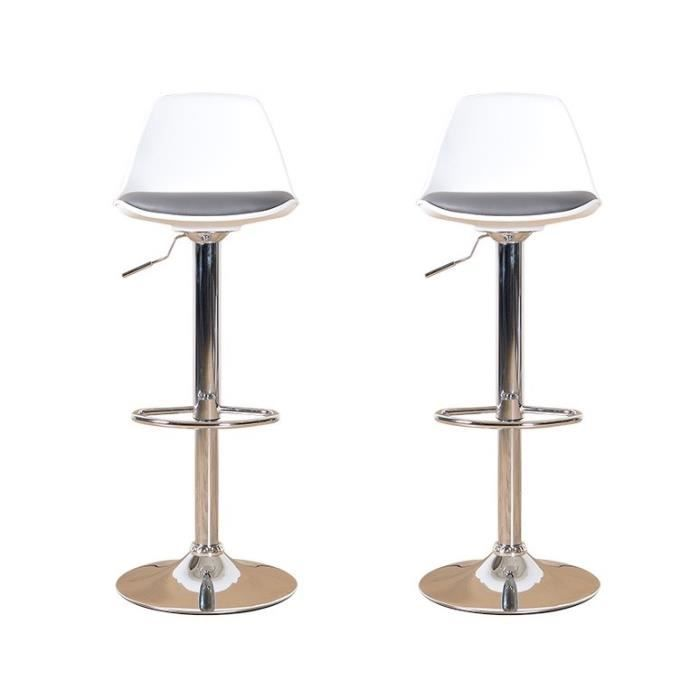 neo lot de 2 tabourets de bar blanc et gris achat vente tabouret de bar m tal. Black Bedroom Furniture Sets. Home Design Ideas