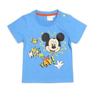 T-SHIRT MICKEY Tee-Shirt Bleu Bébé Garçon Sérigraphie