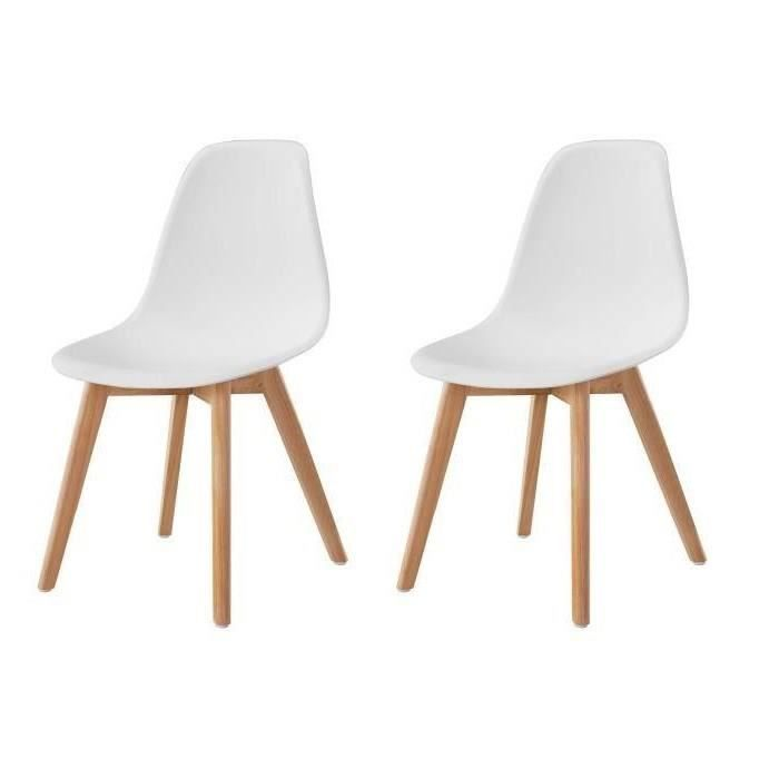sacha lot de 2 chaises de salle manger design scandinave blanc achat vente chaise blanc. Black Bedroom Furniture Sets. Home Design Ideas