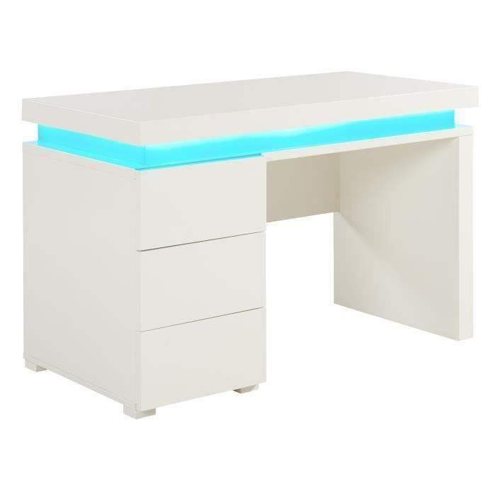 Flash bureau contemporain blanc brillant l 120 cm - Grand bureau pas cher ...