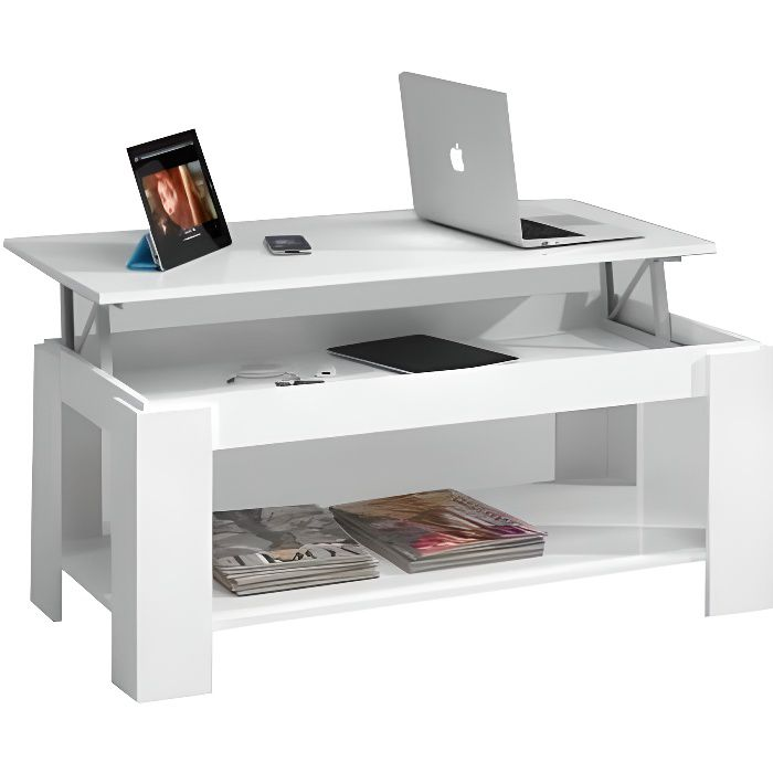 Kendra table basse 100 cm levable blanc achat vente for Kendra table basse