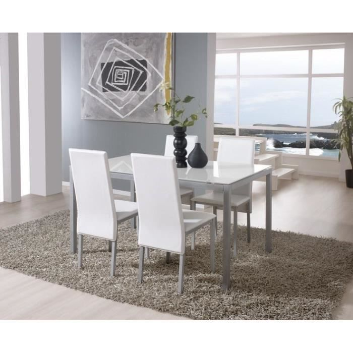 sollana ensemble table manger 6 personnes 140x90 cm 4 chaises blanc achat vente table. Black Bedroom Furniture Sets. Home Design Ideas