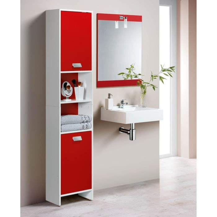 top colonne de salle de bain 39cm blanc et rouge achat. Black Bedroom Furniture Sets. Home Design Ideas
