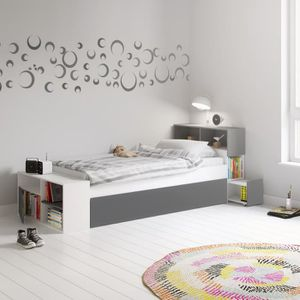 lit enfant avec tete de lit rangement achat vente lit. Black Bedroom Furniture Sets. Home Design Ideas