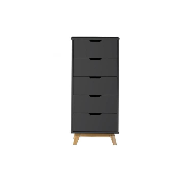 alina chiffonier 5 tiroirs gris anthracite ch ne achat vente commode semainier alina. Black Bedroom Furniture Sets. Home Design Ideas