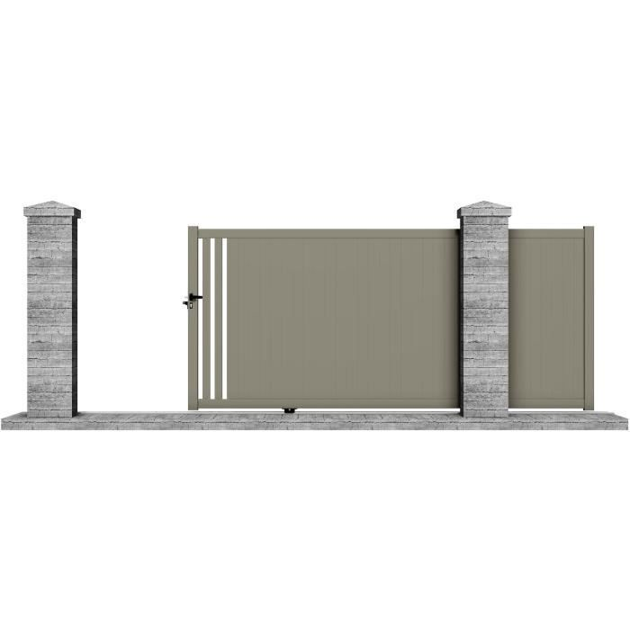 portail manuel coulissant aluminium irazu 3 5m gris clotura achat vente portail. Black Bedroom Furniture Sets. Home Design Ideas