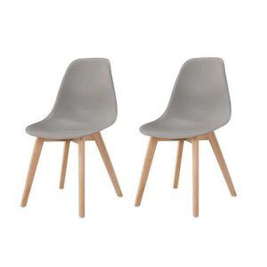 CHAISE SACHA Lot de 2 chaises de salle à manger gris - Pi