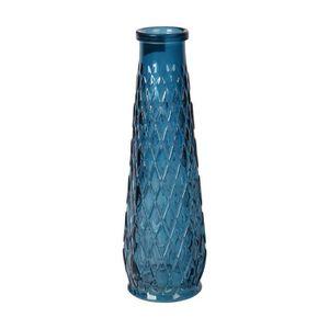 VASE - SOLIFLORE Soliflore en verre relief losange - Ø 6,5 x H 22 c