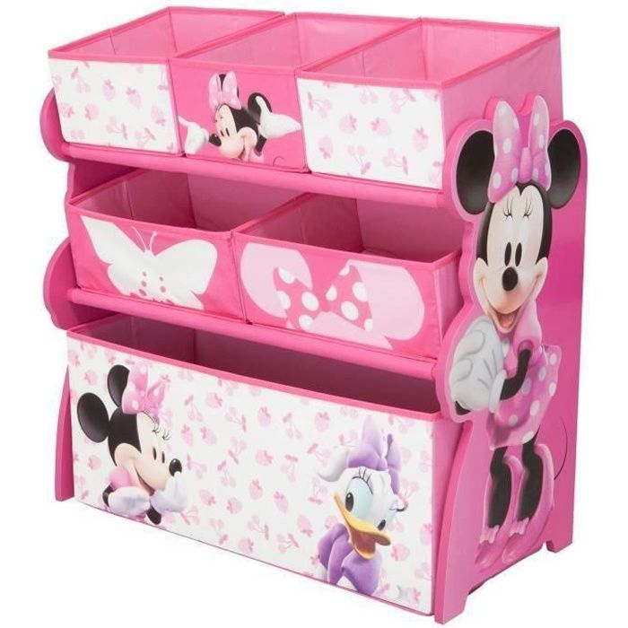 minnie meuble enfant en bois avec 6 rangements rose et. Black Bedroom Furniture Sets. Home Design Ideas