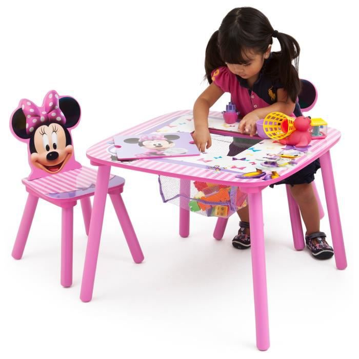 minnie table enfant avec rangement et 2 chaises achat. Black Bedroom Furniture Sets. Home Design Ideas