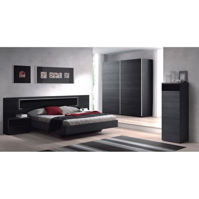 kiara t te de lit avec led 263 cm 2 chevets noir. Black Bedroom Furniture Sets. Home Design Ideas