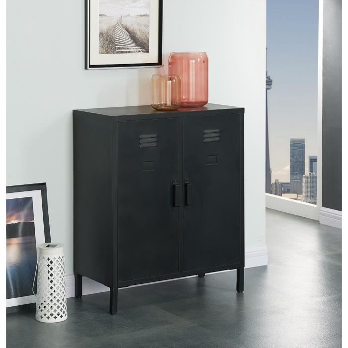 camden meuble de rangement industriel noir laqu l 70 cm achat vente meuble chaussures. Black Bedroom Furniture Sets. Home Design Ideas