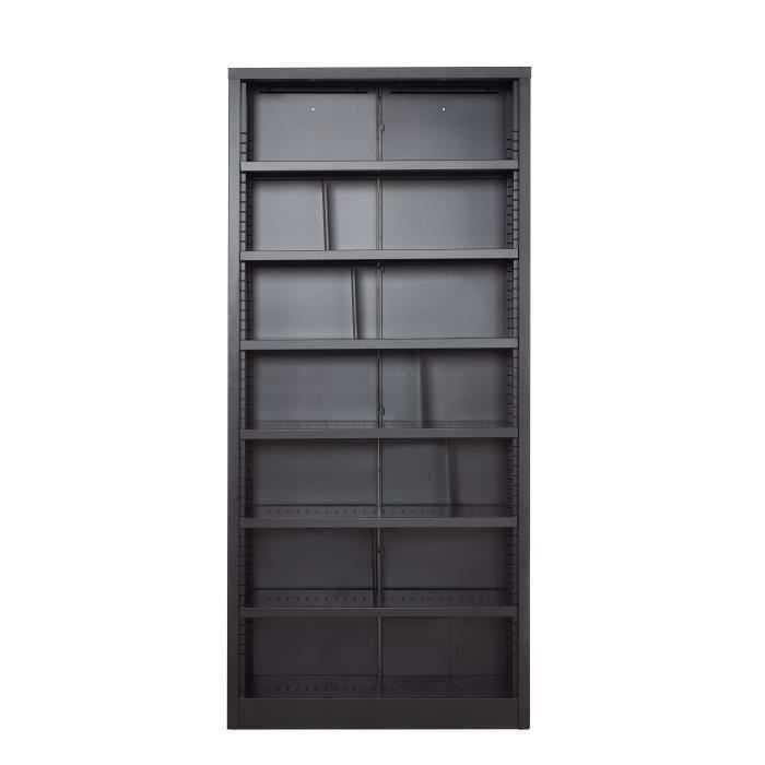 camden biblioth que industriel laqu noir l 200 cm achat vente biblioth que camden. Black Bedroom Furniture Sets. Home Design Ideas