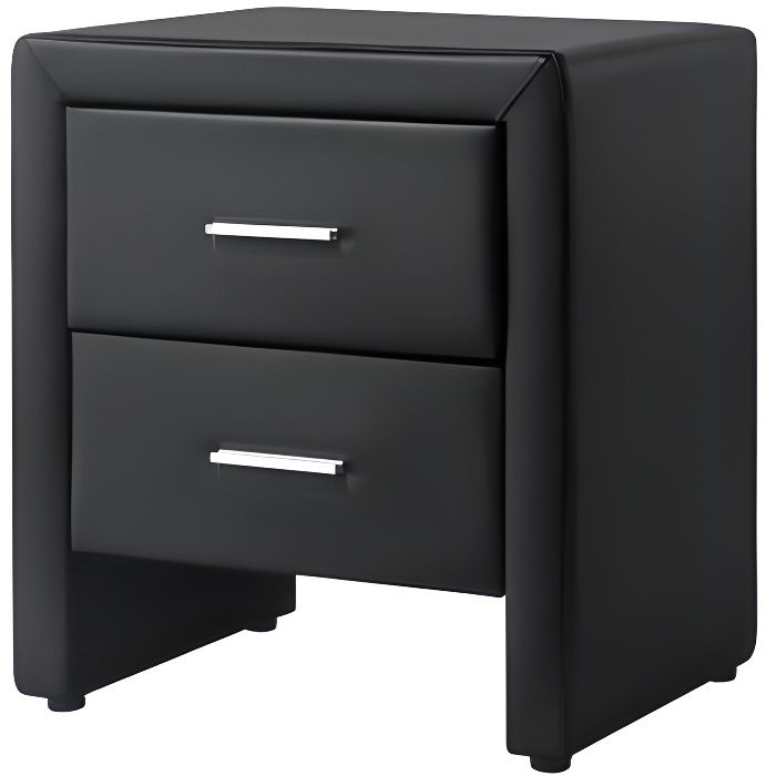 Leeds table de chevet simili noir l 48 cm achat vente chevet leeds ta - Table de chevet cuir noir ...