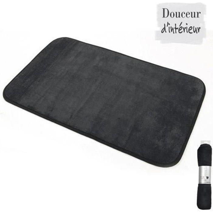 TAPIS DE BAIN  Tapis microfibre noir 45x75 cm