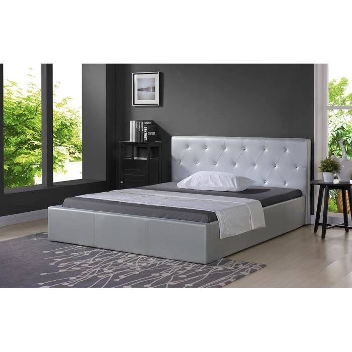 bahia lit coffre strass sommier 140x190cm argent achat vente structure de lit bahia lit. Black Bedroom Furniture Sets. Home Design Ideas
