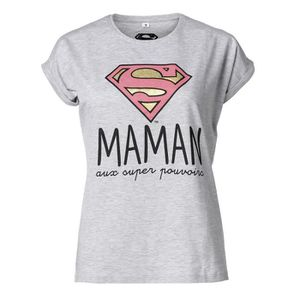 T-SHIRT SUPERWOMAN Tee-Shirt Maman manches courtes gris ch