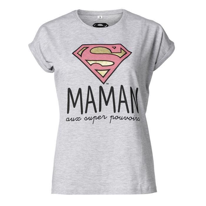 T-SHIRT SUPERWOMAN Tee-Shirt Maman manches courtes gris ch