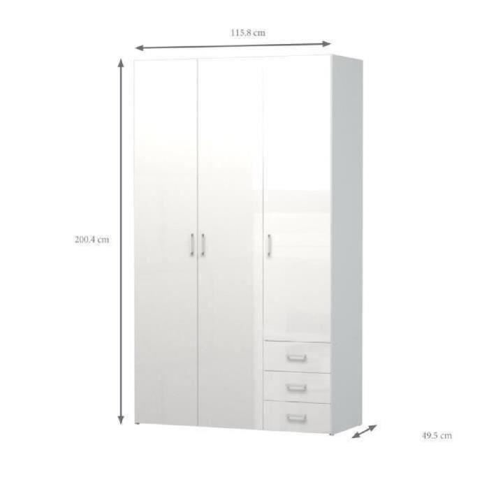 Space armoire chambre adulte style contemporain blanc for Meuble chambre adulte contemporain
