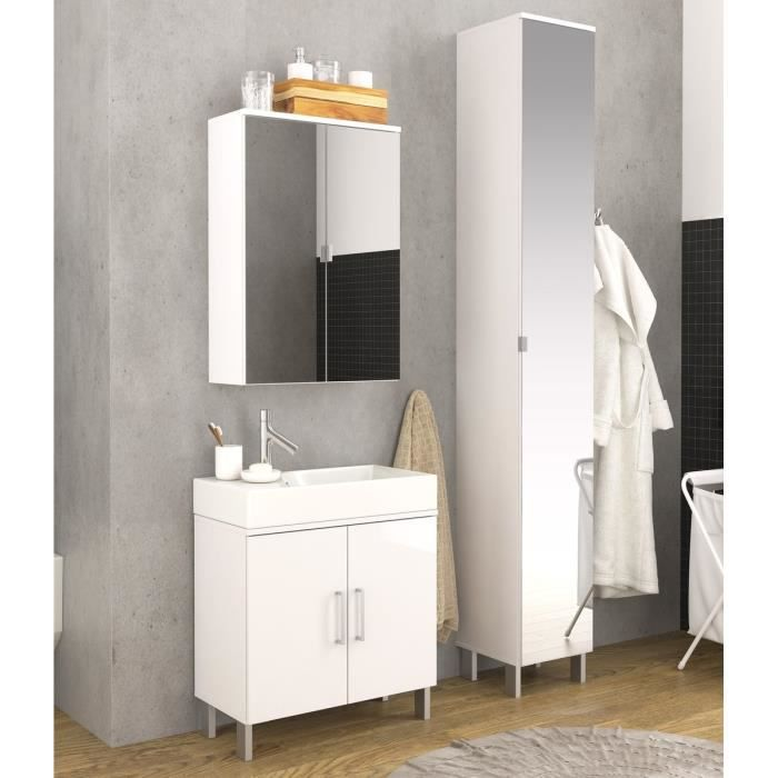 lake meuble bas de salle de bain 2 portes 61 cm blanc brillant achat vente meuble vasque. Black Bedroom Furniture Sets. Home Design Ideas