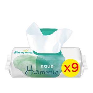 COUCHE PAMPERS Aqua Harmonie Lingettes Bébé - 9 Paquets -