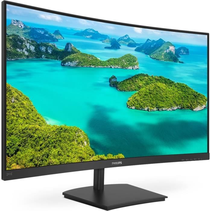 Ecran PC incurvé - PHILIPS 241E1SCA - 24- FHD - Dalle VA - 4ms - 75Hz VGA / HDMI - FreeSync