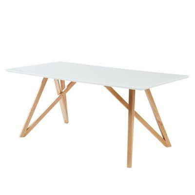 LULEA Table à manger de 8 à 10 personnes scandinave blanc laqué brillant -  L 180 x l 90 cm