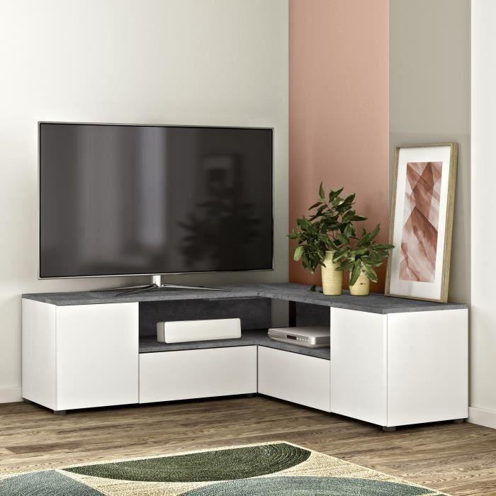 Meuble TV D'angle 4 portes - Effet béton et blanc - L 130 x P 130 x H 46 cm - SYMBIOSYS