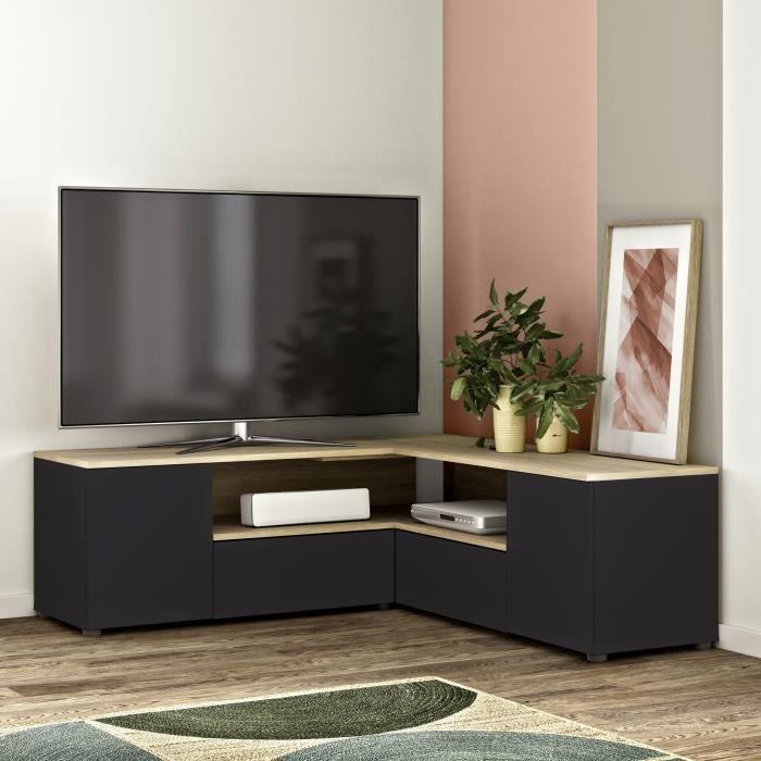 Meuble TV d'angle 4 portes - Décor chêne et noir - L 130 x P 130 x H 46 cm - SYMBIOSYS