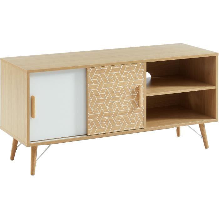 Meuble TV 2 portes - Décor chêne et blanc - L 116 x P 39.5 x H 55 cm - LOUISA